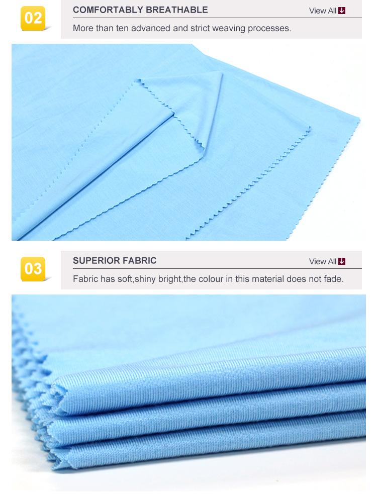 Customizable good quality bule cotton single jersey fabric garment wear model knit fabric