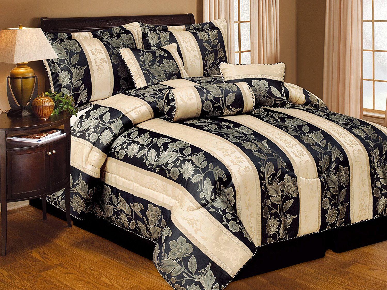 Get Quotations · 7 Piece Soho Hotel Collection Comforter Set   4 Colors  (BLACK, QUEEN)