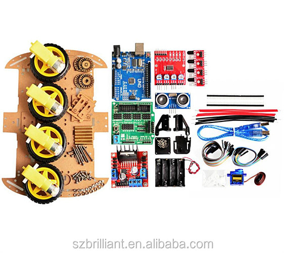 Nuovo Avoidance inseguimento Motore di Smart Robot Car Chassis Kit Connessione Encoder Battery Box 4WD modulo Ad Ultrasuoni Per kit