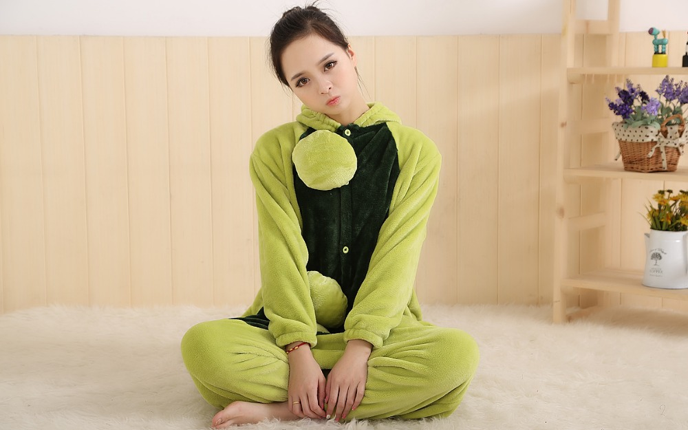 wholesale adult onesie couple green peas one piece animal pijama