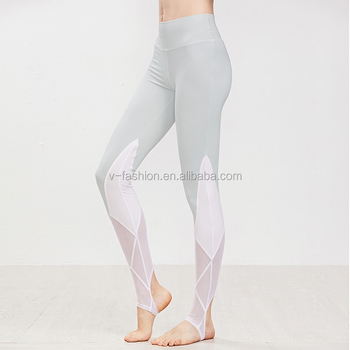 a719ec5c51a2b high waisted workout Contrast Mesh Insert Stirrup Leggings with private  label leggings