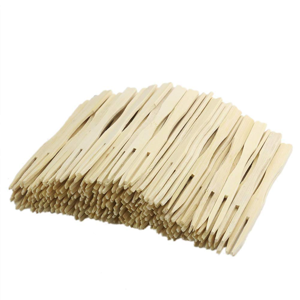 """Orgrimmar 160 Pieces - 3.5"""" Bamboo Fruit Forks Mini Food Picks/Mini Cocktail Forks, Two Prongs - Blunt End Toothpicks for Appetizer, Cocktail, Fruit, Pastry, Dessert (Pack of 160)"""