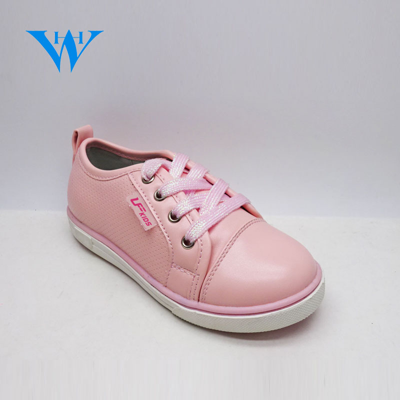 Fashionable pu leather girls casual schnurschuhe girls soft sole pink sneakers
