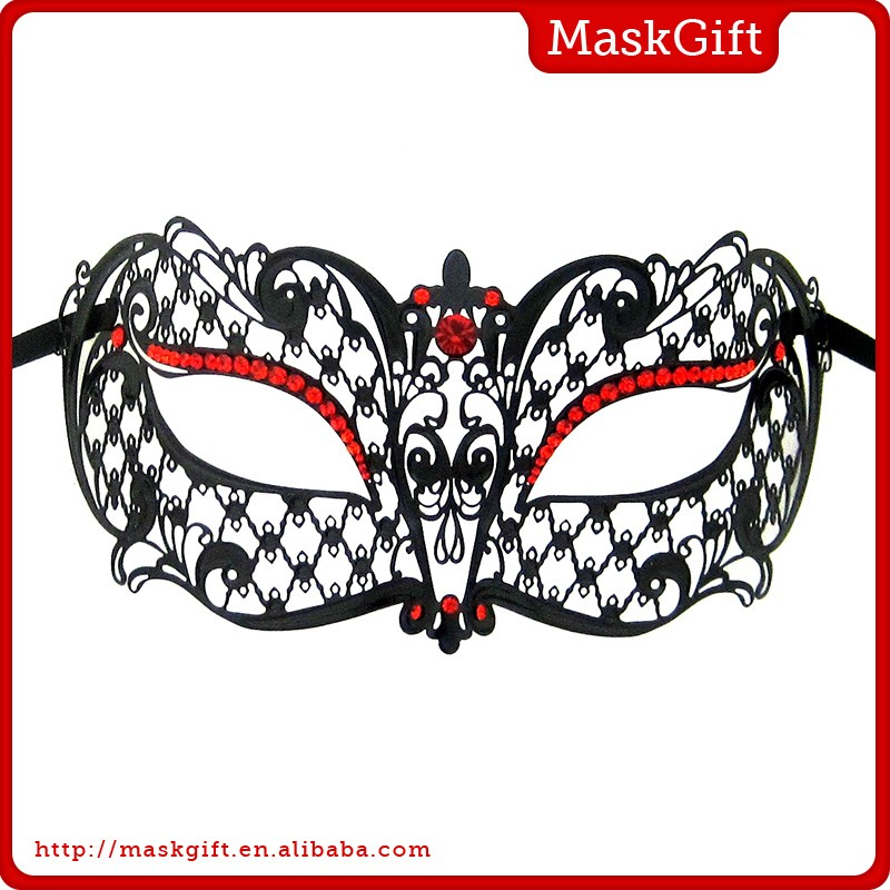 China supplier metal red stone decoration Carnival mask for party