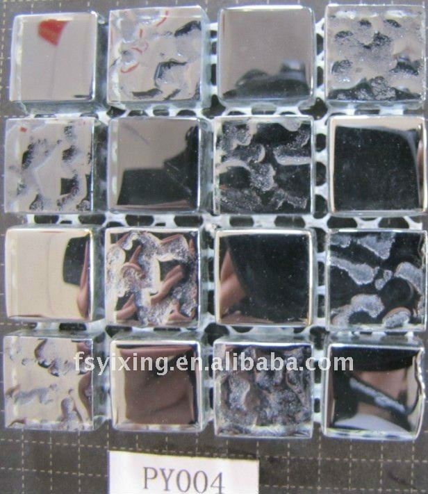 square glass electroplate metallic fireplace mosaic tile