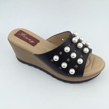 fa72557f2e29 European market wholesale Wedge Heel Peep Toe with many pearls women  slipper and lady sandals