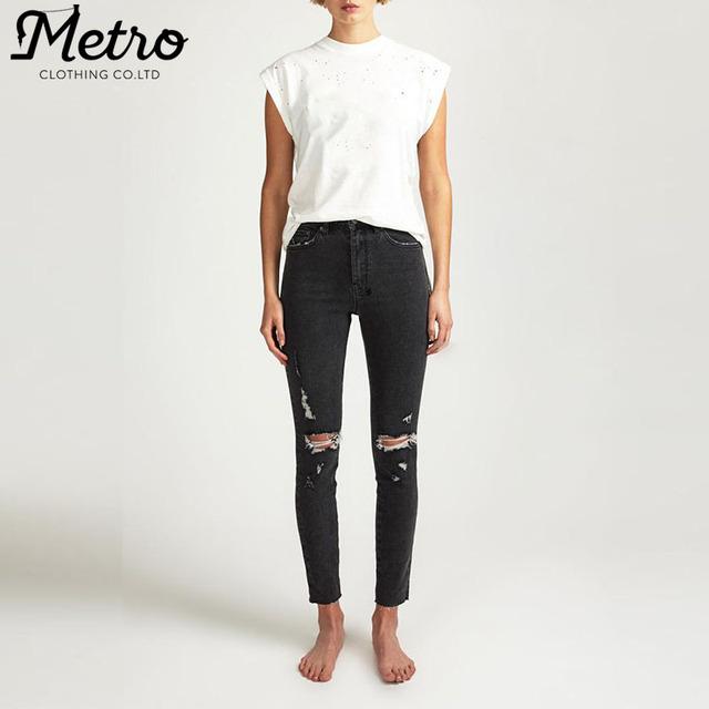 420424b3b5a High quality wholesale women distressed denim fabrics skinny jeans