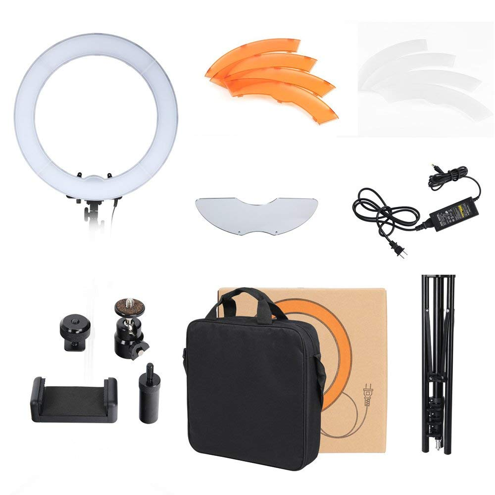 """iEGrow 18"""" LED Ring Light with Light Stand- Dimmable Lighting Kit with Bracket, 2-meter Light Stand for Portrait Video Shooting, Smartphone, Youtube"""