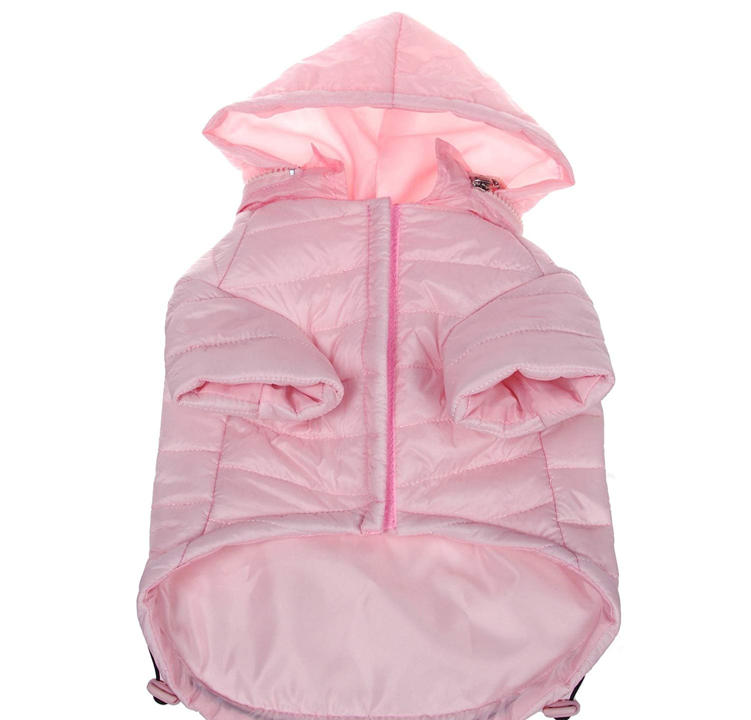 22 Inches X-large Pink Comfortable Tail End Adjustable Pet Coat, Light Pink Solid Color Leash Slit Holder Belly Hook Loop Closure Stylish Hood Waterproof Lightweight Jacket Pet Apparel, Polyester