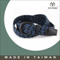 New produce Purple Cotton Brown Leather Weave Belt for Man