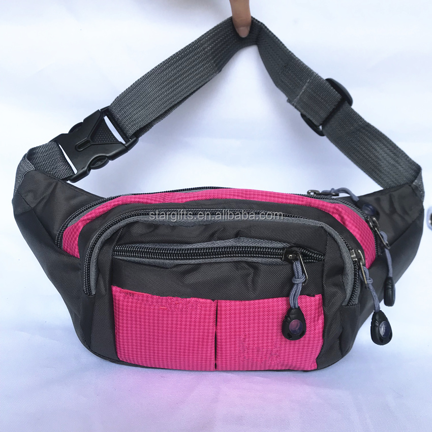 2018 Amazon hot selling fashion polyester women red pink fanny pack wholesale unisex custom sport waist bag