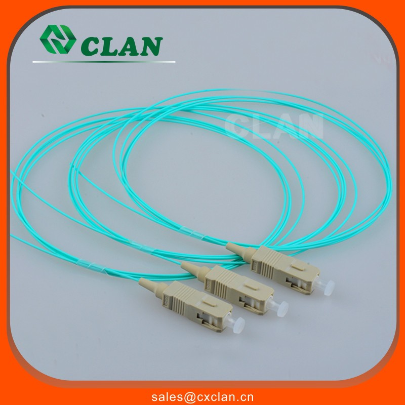 Fiber optic pigtail tight tube SC PC UPC 50/125um OM3 Multimode SX with 0.9mm PVC Cable