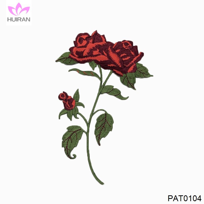 Wholesale Custom 3D Fabric Patch Embroidery Flower Patch Embroidery Patch Rose