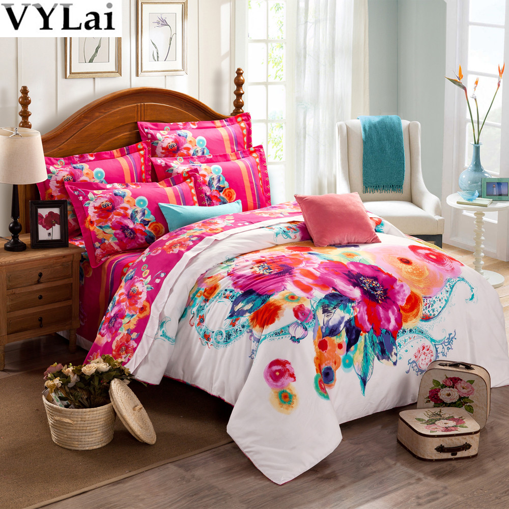 King Queen Bed Size Bedclothes 3d Flowers Bedding Set 100