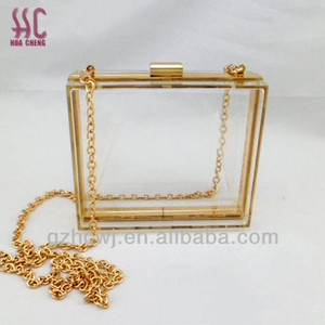 Transparent acrylic clutch with chain