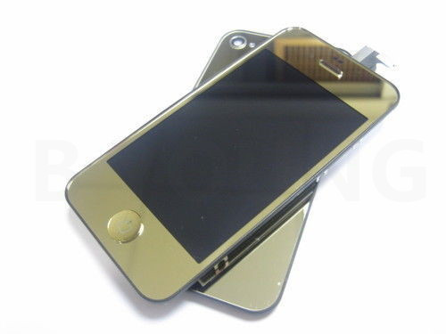 Mirror Gold LCD Display +Touch Screen Digitizer + Back Cover + Key Home Button for iPhone 4 mobile phone Replacement