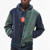 custom vintage washed hooded colorblock men bomber jacket