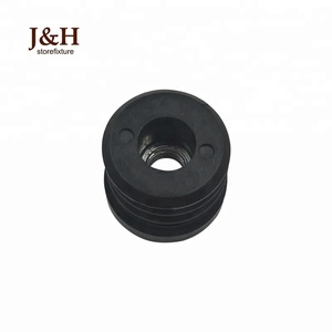 Customized Pipe Fitting Black Chair Table Feet Protector Plastic End Cap M8 Screw Threaded 25mm Dia Round Tube Inserts