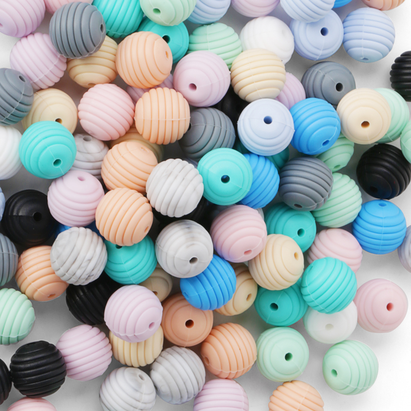 Wholesale Bpa Free Custom Baby Food Grade Silicone Rubber Teething Beads Bulk For Jewelry Baby Toy