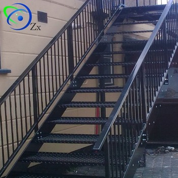 Outdoor Metal Fire Escape Staircase /exterior Prefab Mild Steel Stairs/hypaethral  Wrought Iron Stair