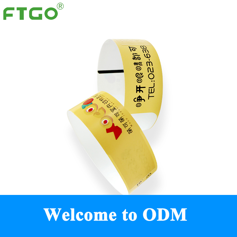 FTGO wholesale PET adhesive glue custom printed event wristband rolls