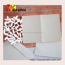 2014 new simple design cheap white leaves 3-fold wedding invitations with insert and envelopes, happy birthday invitations card
