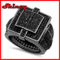 Black Plated Fully Iced Out Square Top Ring - Completely Flushed with Micro Pave CZs All Around Band