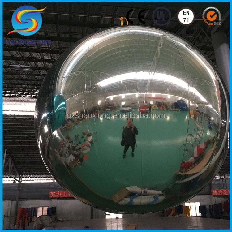 Large Christmas Disco Inflatable Hanging Silver Mirror Ball for Event Decoration