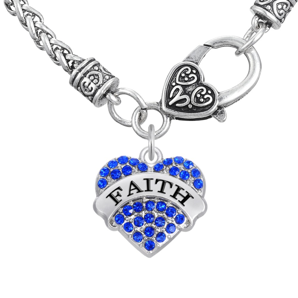 Lead And Nickle Free Faith Pave Heart Crystal Charm Big Lobster Clasp Wheat Chian Necklace