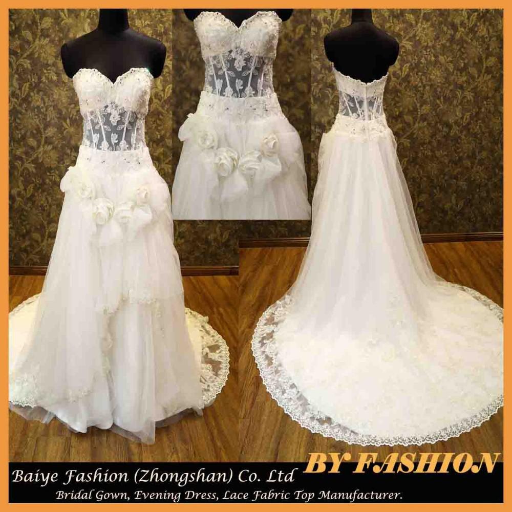 Gorgeous Wedding Dress Bridal Gown Illusion Waist Lace Fabric Dress ...