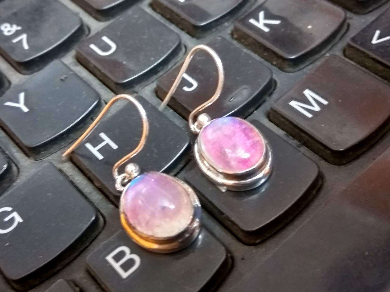 Pink Moonstone Earring, Pink Stone Earring, June Birthstone, Nickel Free Silver, Gypsy Earring, Handmade Earring, Artisan Earring, Fine Earring, Yoga Earring, Bridal Earring, Sterling Silver Earring