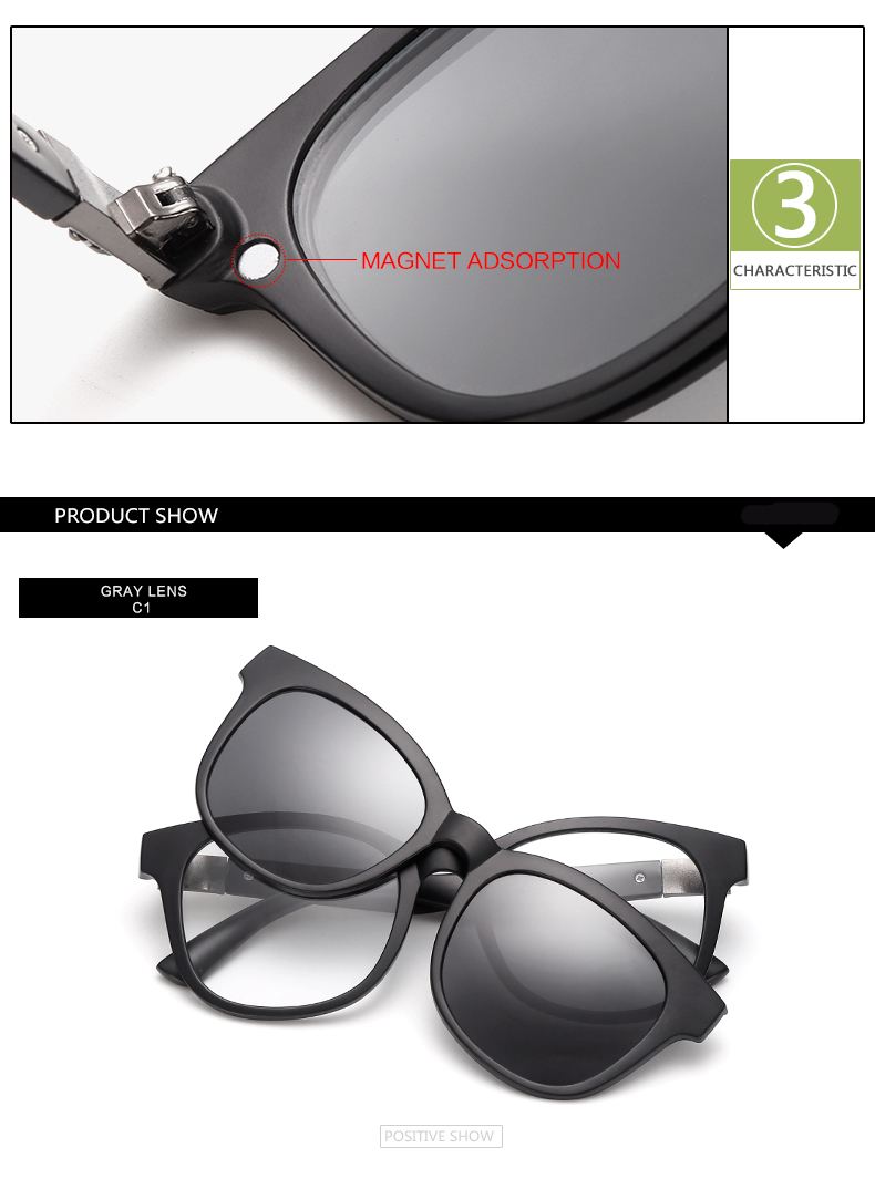 4dd22f743a HDCRAFTER Brand Retro Clip On Sunglasses Men Polarized Night Vision Driving  Glasses TR90 Removable Glasses Frame