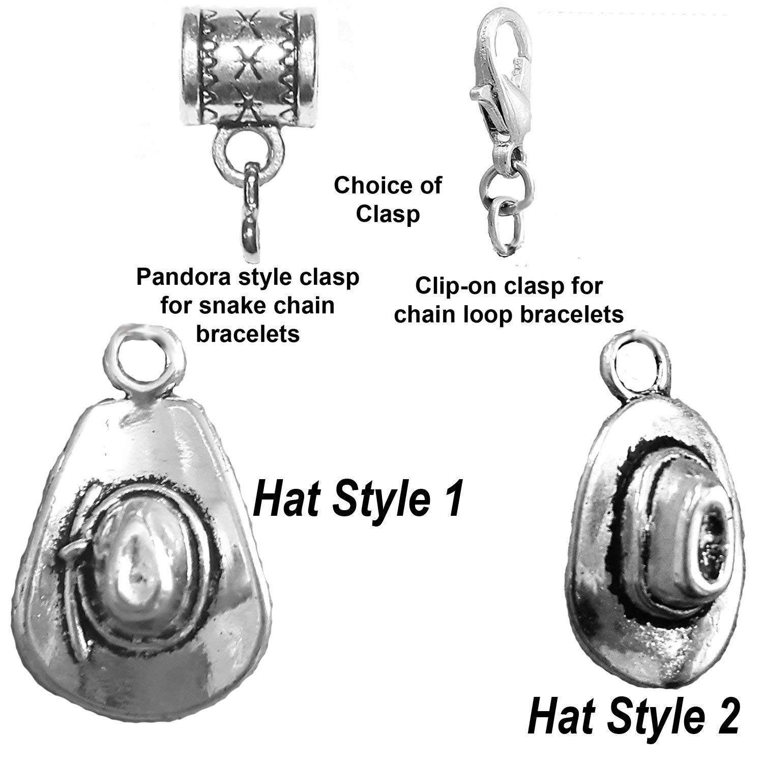 """Cowboy hat charm"" antique silver charm in 2 styles by Mossy Cabin for large hole snake chain charm bracelets, or clip-on clasp to add to a chain bracelet, neck chain or key chain"