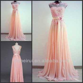 Lace Lique Hand Made Wedding Amazing Light C A Line Round Neckline Sweep Train Peach Color Long Bridesmaid Dresses 2017