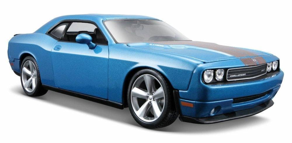 2008 Dodge Challenger SRT8 Hard Top w/ Sunroof, Blue - Maisto 31280BU - 1/24 Scale Diecast Model Toy Car