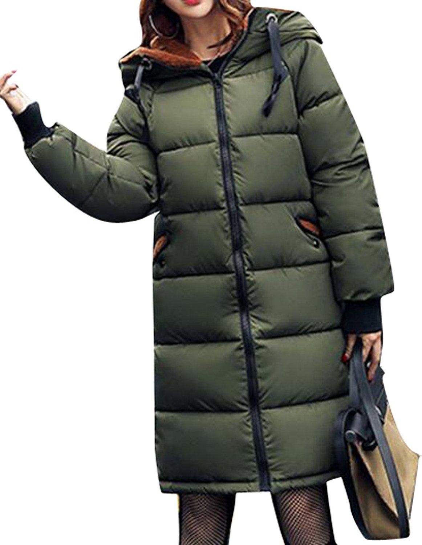Fensajomon Womens Winter Warm Plus Size Hooded Zip Camouflage Down Jacket