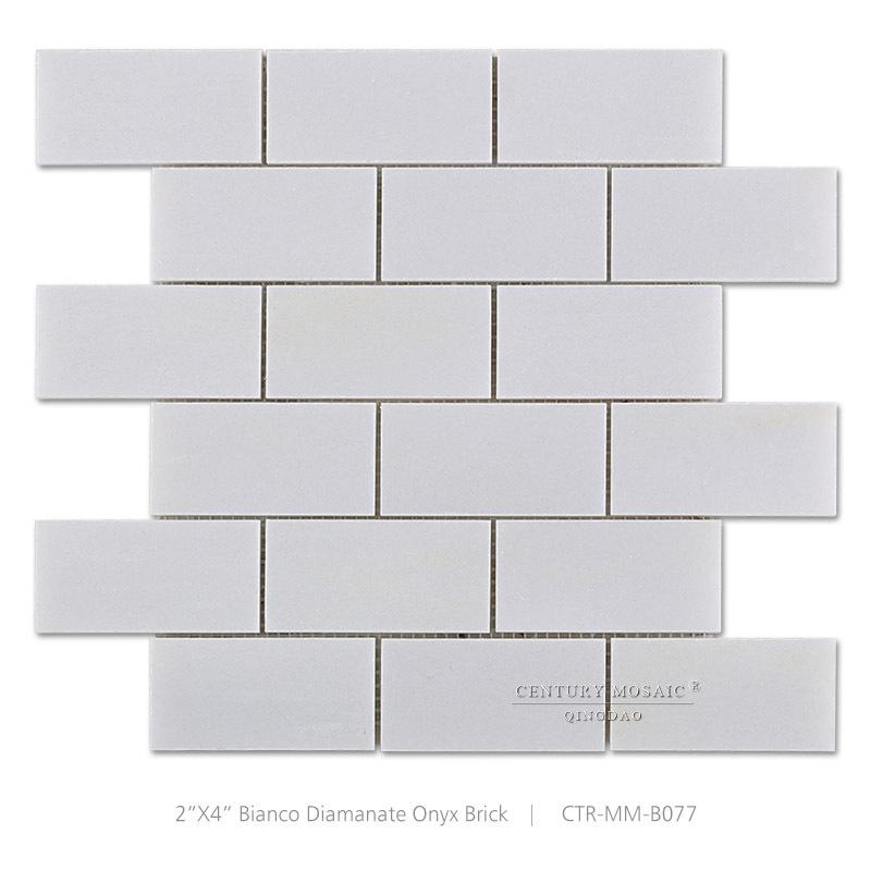 White Onyx Brick Mosaic Tile Bathroom