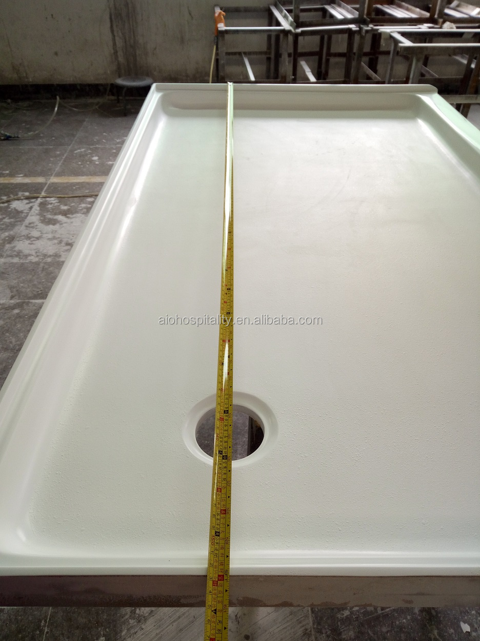 "60"" x 36"" x 3"" Corner Drain Rectangle Cultured Marble Shower Pan for US Hotel Bathroom Cast Marble Shower Base"
