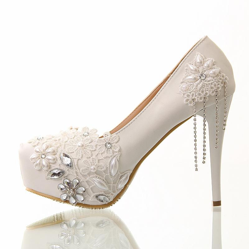 Aliexpress.com : Buy Wedding shoes white lace tassel ultra ...
