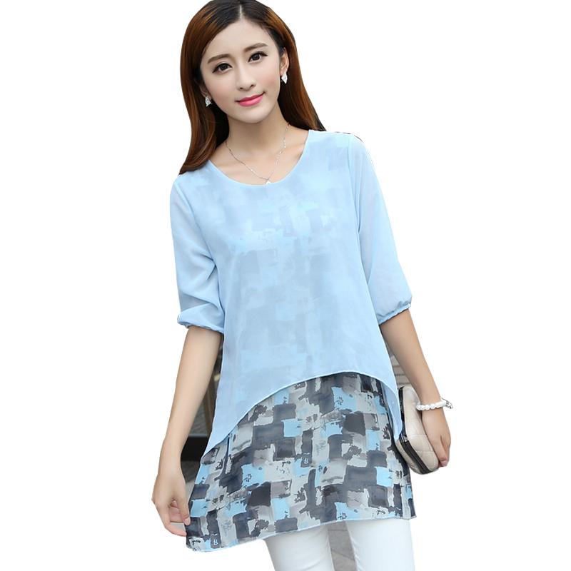 ba414e7ccf5 Get Quotations · Moda Feminina Print Chiffon Blouse Patchwork Loose Blouses  2015 Summer Women Tops Ladies Shirts Casual Plus