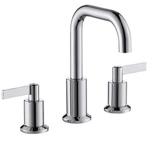 Two Handle Chrome Widespread Bathroom Sink Faucet with Pop-Up Drain