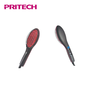 PRITECH New Design Electric Lcd Display Silicone Head Ceramic Hair Straightener Brush