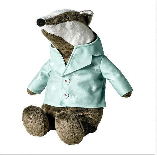 Badger Bear Soft Plush Toy Stuffed Animal With Clothes
