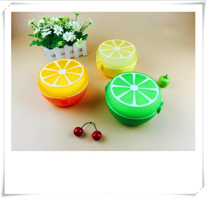 Wholesale Cartoon Fruit Kids Lunch Box Portable Plastic Lemon Student Lunch Box with Compartments