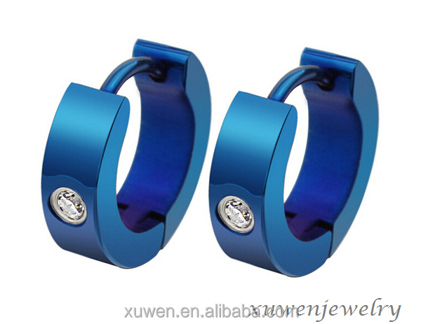 women or men blue plated color stainless steel huggie earrings