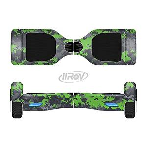 The Lime Green and Gray Digital Camouflage Full-Body Wrap Skin Kit for the iiRov HoverBoards and other Scooter (HOVERBOARD NOT INCLUDED)