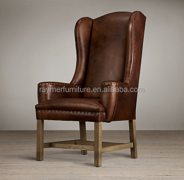 French Vintage Wooden High Wing Back Dining Arm Chairs