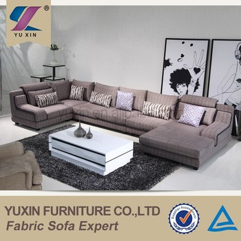 Extra Large Big U Shape Fabric Corner Sofa Corner Tan Sofas For