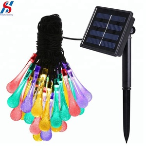 Solar decoration Light Fairy Shower LED Solar String Light Water Drop Shape Lamp Solar operated Light