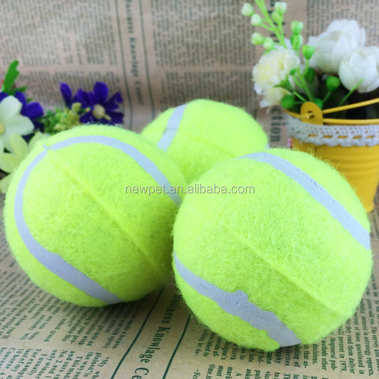 Natural style new coming rubber tennis chew toy rope tennis ball dog toy